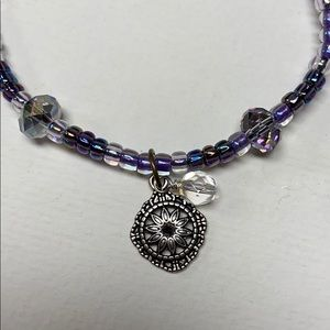 NEW Purple sparkling bracelet slide knot charm